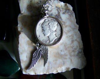 Vintage Silver Mercury Dime Pendant