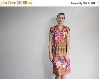 On SALE 35% Off - 70s Vintage Tropical Floral Boho Summer Day Dress  1970s Dresses - 70s Clothing - WV0254