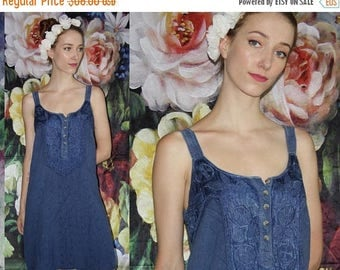 On SALE 40% Off - 90s Vintage Blue Floral Embroidered Indian Cotton Boho Bohemian Slip Dress - 90s Clothing - WV0535