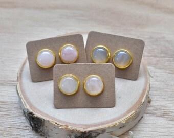 20% EARRING STUD SALE Gold Round Rose Quartz Bezel 12mm Stud Earrings/ Rose Quartz Large Round Cabochon Gold Studs/ Natural Stone Gemstone M