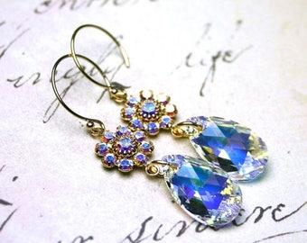 ON SALE Swarovski Crystal Teardrop Earrings in Crystal AB - Gold and Crystal Earrings - 14K Gold Filled Earwires