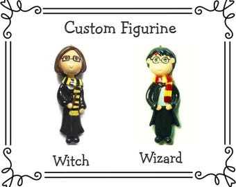 Custom Cold Porcelain School of Magic Witchcraft Student Witch Wizard Figurine, Ornament, Pendant, Bow Center, Purse Charm, Magnet, Brooch