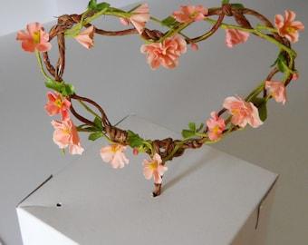 Peach Wedding  Cake Topper Heart
