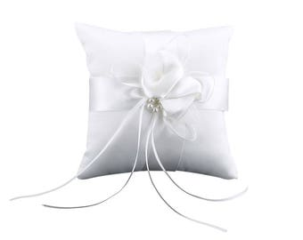 """Wedding White  Satin With Pearls and Ribbon Ring Bearer Pillow  (6"""" X 6"""")"""