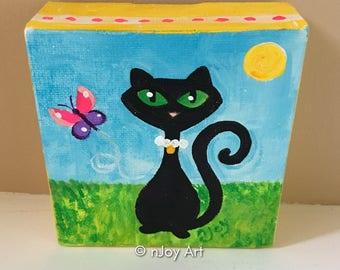 Black Cat  Art, Daily Doodle 4x4 mini acrylic canvas painting