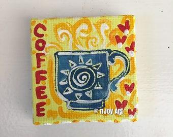 "Coffee Love magnet, mini 2"" art canvas magnet"