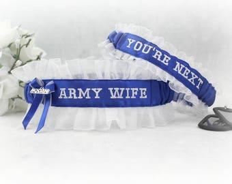 Army Wedding Garter set - Military Garter set - Army Wedding Garters - HOOAH Garter Set - Embroidered Wedding Garters - Keepsake and Toss.