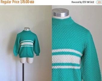 20% off SALE vintage 1960s little girl's sweater - PEPPERMINT CANDY mint striped wool knit top / 10yr