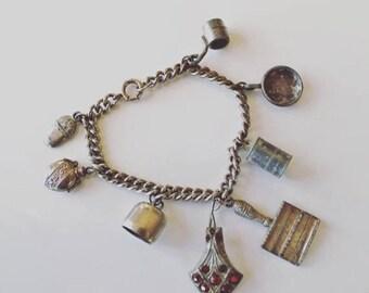 20% off SALE vintage 1920s charm bracelet - CAMP silver metal bracelet