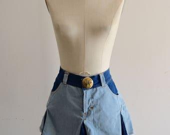 Authentic DOLCE & GABBANA Patchwork Double Denim Mini Skirt Women's Blue Colorblock Denim A-line Mini Skirt