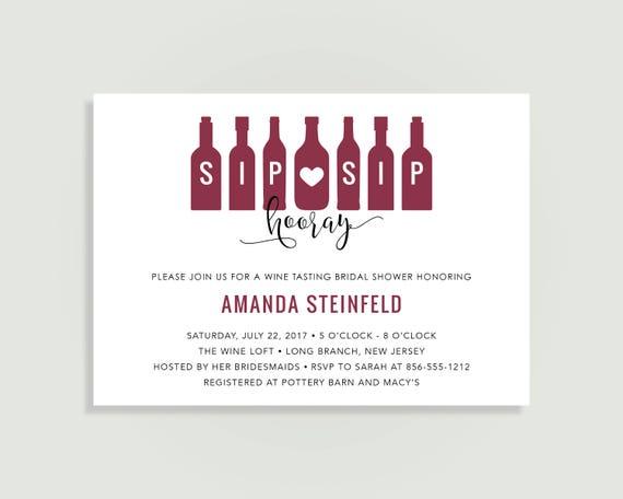Wine bridal shower invitation sip sip hooray wine tasting wine il570xn filmwisefo