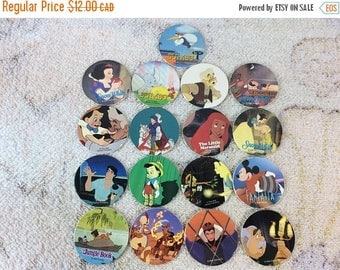 20% SALE Collection of 1990s Blank Back Disney Pogs Ariel Snow White Jungle Book 90s Kids Games
