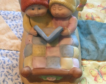 Vintage Bedtime Story Cabbage Patch Figurine 1984 Two Girls Reading