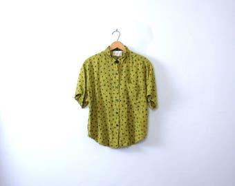 Vintage 80's lime green tribal print blouse, women's size large