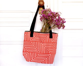 Zip Tote Bag - Geometric Modern Bag