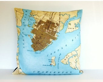SALE SALE SALE Map cushion cover pillow city maps Charleston map cushion, map pillow  organic cotton 16 inch cushion