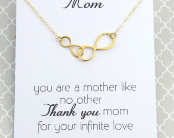 Mother Infinity Love Necklace, Mother and and daughter necklace, Interlocking Two Infinity Link Necklace, Gold or Silverson, Mother