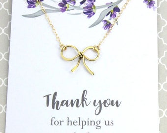 """3 Day SALE New! Bridal Necklace, Gold or Silver Bow Necklace, Bridal Wedding Gift, """" Thank you for helping us tie the knot"""""""