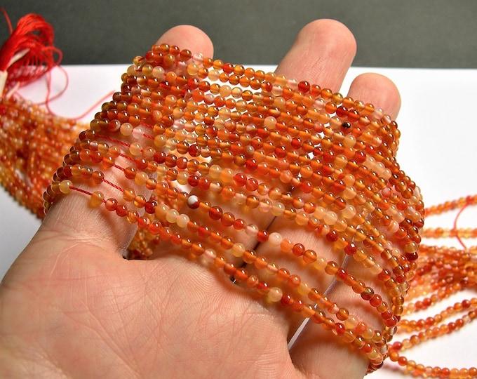 Carnelian gemstone 3mm round -  full strand - 132 pcs - A quality - mix tone - PG54