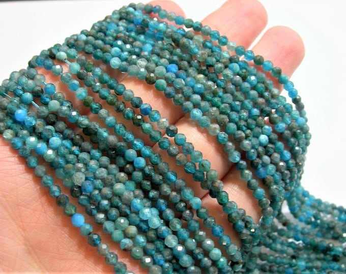 Apatite - 3mm faceted round beads - full strand  125 beads - micro facted Blue Apatite - PG79