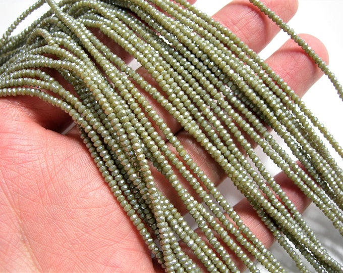 Crystal - rondelle  faceted 1mm x  2mm beads - 198 beads - sage mud ab - full strand - VSC25