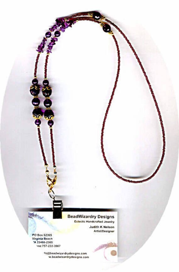 Amazing Deep Purple Genuine Amethyst in Smooth and Faceted Rounds ID Badge Lanyard or Eyeglass Chain