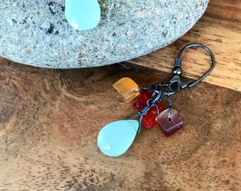 Prehnite Carnelian and Oxidized Sterling Siver Earrings