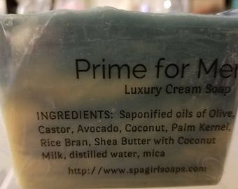 Prime for Men Luxury Cream handmade soap (cold process) 4.5 oz with Coconut Milk, shea butter & Cocoa Butter