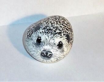 Baby Hedgehog Painted Rock Stone