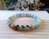 "Handmade Genuine Amazonite Bracelet, Natural Blue Amazonite Gemstone Stretch 7"" Bracelet,Calming, Improve Health, Protetction, Energy"