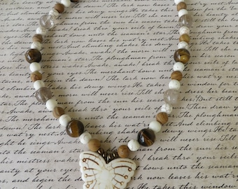 Tigers Eye Rutilated Quartz Howlite and Jasper Beaded Butterfly Pendant Necklace