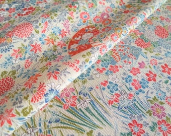 Japanese pure silk from Kyoto Ivory Floral pattern