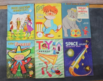 Lot of 6 Vintage Coloring Books, Workbooks, 1960's