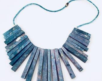 Ethnic Necklace Spike Bib Handmade Vintage Jewelry