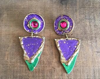 SALE 80s 90s Statement Pierced Earrings Wearable Art Splatter Paint Metallic Abstract Avant Garde Lightweight Large Earrings
