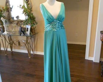 ON SALE NOW On Sale New Mike Benet Palazzo Pant Dress / Seafoam Green Evening Gown / Deep Plunge Pant Dress / Size 8 10