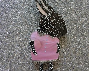 Shy Bunny Handmade Laser Cut Perspex Brooch - Black Leopard Spot