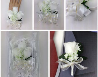 New Artificial White Rose Corsage, White Rose Mother's Corsage, White Corsage, White Wedding Flowers