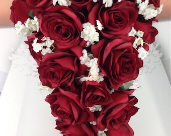 """New Artificial Apple Red Wedding Teardrop Bouquet, 18"""" in length. Baby's Breath and Apple Bridal Bouquet"""