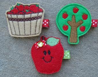 Fall Hair Clips Felt hair clips Apple hair clip Apple Tree hair clip apple busket hairclip red apple hair clip kindergarten clips