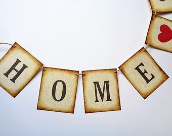 Home Sweet Home Banner Rustic Home Decor Country Farmhouse Garland