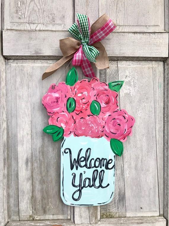 Mason jar door hanger, Spring door hanger, Farm House decor,  wood door hanger, Spring welcome wreath, Mother's Day sign, Home Sweet Home