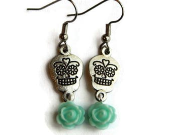 Skull and Aqua Rose Earrings - Silver Sugar Skull - Day of the Dead - Dia de los Muertos - Halloween - Rockabilly - Nickel Free