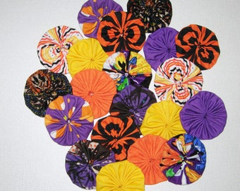 Halloween Fabric YoYos, 20 Solids And Prints, 2 Inch Size, Appliques, Embellishments