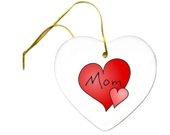 I Love My Mom Mothers Day Red Hearts Ceramic Hanging Heart Ornament