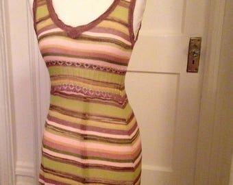 Vintage Striped Sheer Knit Dress XS