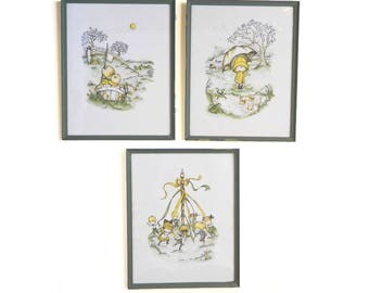 """Vintage 1970 Framed Color Lithographs Pictures - Children Playing Prints - Snail - Merry Go Round Boat Umbrella Frog - 15"""" x 12"""" - Set of 3"""