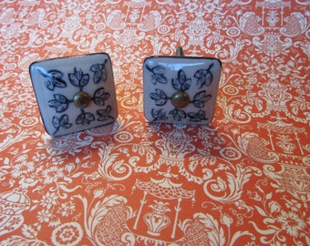 2 Floral Ceramic Square Knobs with Hand Painted Navy Floral Leaf Patterns on Ivory Drawer or Cabinet Knobs or Pulls Ready to Ship B-22