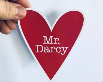 Mr. Darcy heart | bumper sticker, laptop decal, water bottle sticker | any smooth surface