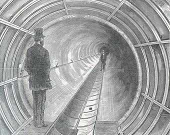 "Digital Ephemera for Collage, Scrapbooking and Cardmaking - ""Great Tunnel Hudson River"" Instant Download - Vintage Inspired Illustration"